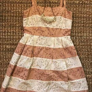 Loft eyelet striped dress